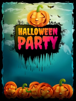 Happy halloween party poster.