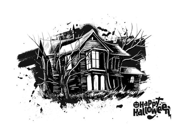 Happy halloween party страшный дом - хэллоуин баннер или плакат.