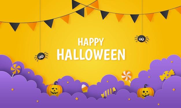 オレンジ色の背景にキャンディーとカボチャのペーパーアートスタイルで幸せなハロウィーンパーティー