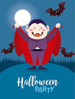 Happy halloween party with dracula count and bats flying in the night scene