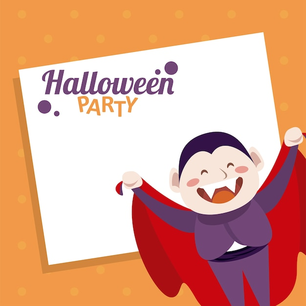 Happy halloween party with dracula count character