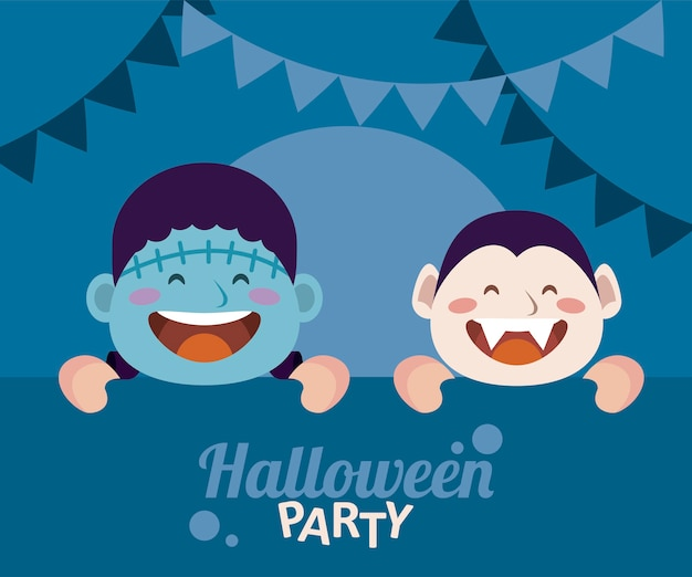 Happy halloween party with dracula and frankenstein