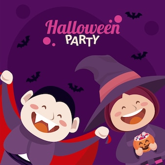 Happy halloween party with dracula and witch