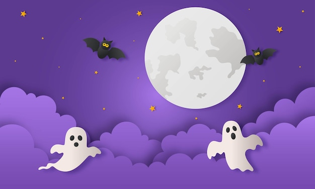 Счастливого хэллоуина с привидениями и летучей мышью в стиле бумажного искусства на фиолетовом фоне