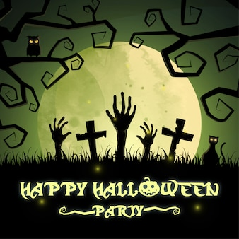Happy halloween party with graveyard and house