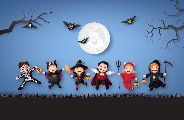 Happy halloween party with group children in halloween costumes.illustration of paper art