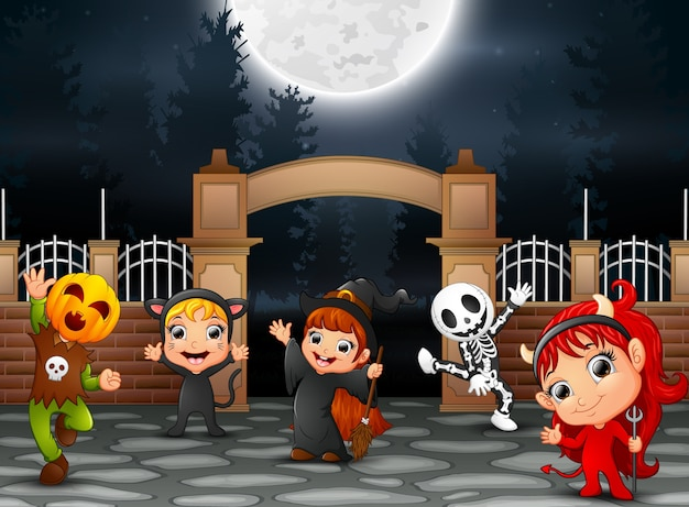 Happy halloween party with group of children
