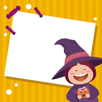 Happy halloween party with little witch