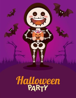 Happy halloween party with skeleton and bats flying