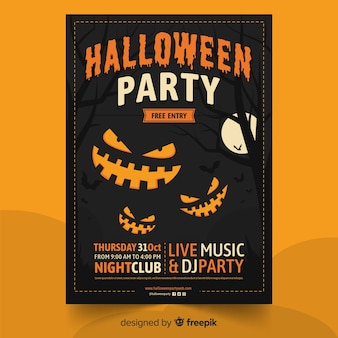Happy halloween party with smiley pumpkins poster