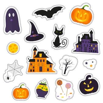유령, 호박, 박쥐, 고양이, 사탕 및 기타 휴일 상징이 있는 해피 할로윈 패치 배지. 격리된 그림 - 스티커, 자수, 배지에 적합합니다.
