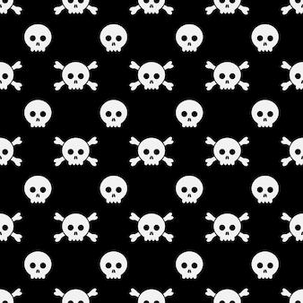 해피 할로윈 패턴 두개골과 뼈입니다. 인사말 카드, 광고, 홍보, 포스터, 전단지, 블로그, 기사, 소셜 미디어, 마케팅을위한 할로윈 디자인 템플릿입니다.
