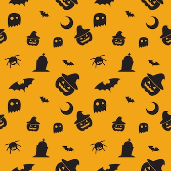 Happy halloween pattern with pumpkin, bat , witch hat