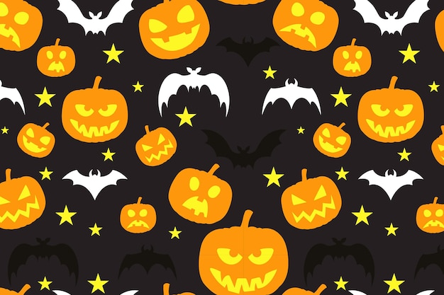 Happy halloween pattern with pumpkins and bats star