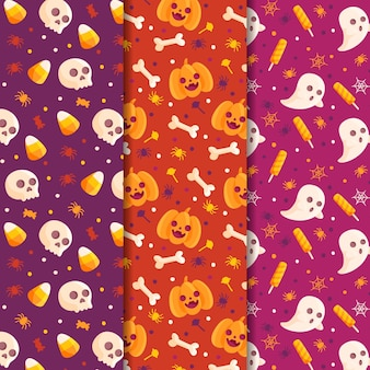 Happy halloween patterns set