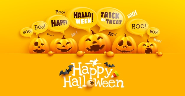 Happy halloween poster and banner template with cute halloween pumpkin and yellow bubble message on top. website spooky,