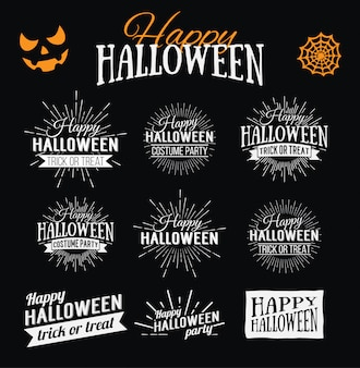Happy halloween poster on bright watercolor background with stains and drops.  illustration of happy halloween banner with halloween elements. bats, spiderweb