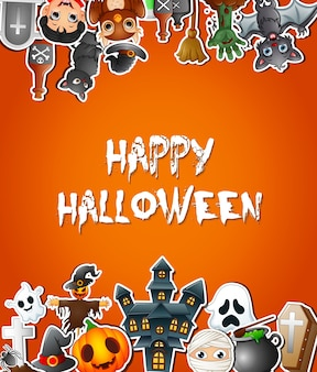 Happy halloween poster card celebrations with stickers