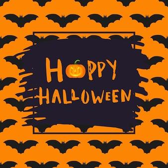 Счастливый дизайн плаката хэллоуина с традиционными символами и рисованной надписью. векторная иллюстрация может использоваться для обоев, веб-страницы, праздничной открытки, приглашения и дизайна вечеринки.