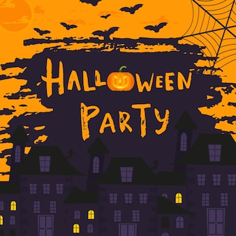 Happy halloween poster design with traditional symbols and hand drawn lettering. vector illustration can be used for wallpaper, web page, holiday card, invitation and party design.