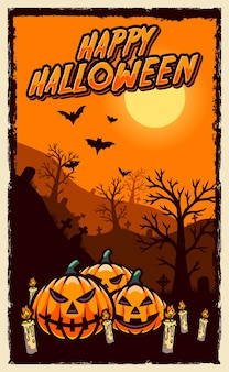 Счастливый хэллоуин плакат живодер дизайн