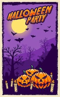 Счастливый хэллоуин плакат живодер дизайн Premium векторы