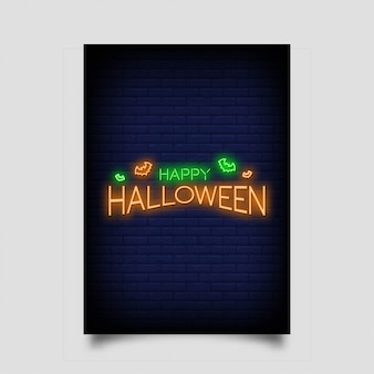 Happy halloween for poster in neon style.