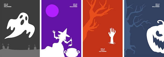 Happy halloween poster set with holiday symbols ghost in cemetery witch brews magic potion in