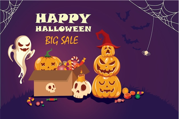 Happy halloween poster with cobwebs,bones,pumpkins and candy.on purple background.