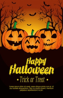 Happy halloween poster with pumpkins