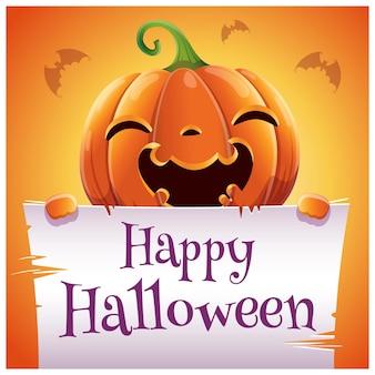 주황색 배경에 양피지가 있는 웃는 호박이 있는 해피 할로윈 포스터입니다. 해피 할로윈 파티입니다. 포스터, 배너, 전단지, 초대장, 엽서.