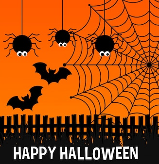 Happy halloween poster with spiders and web