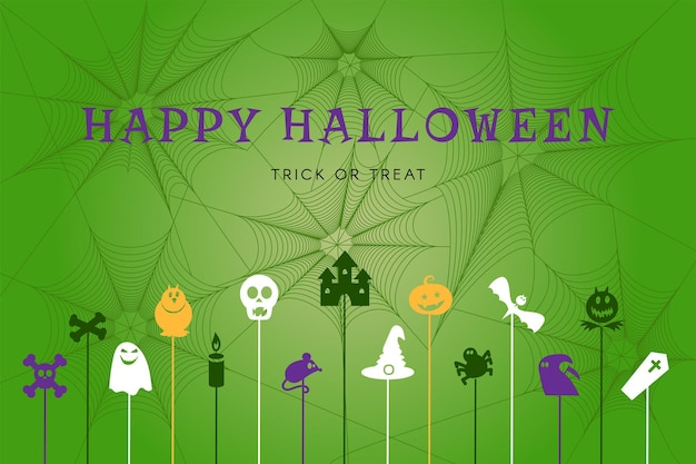 Happy halloween poster with traditional autumn holiday symbols on spider web background. web banner for party, decoration or shopping sale. vector illustration