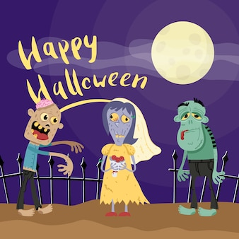 Happy halloween poster with zombies in cemetery