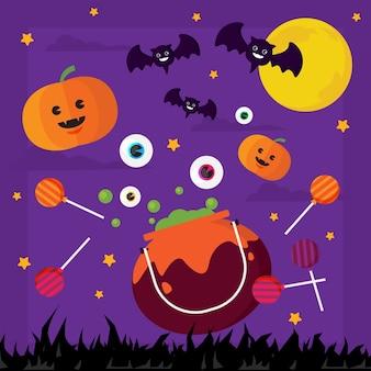Happy halloween pumpki and bat in moon illustrations.
