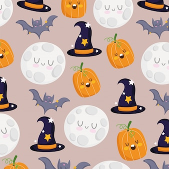 Happy halloween, pumpkin bats moon witch hats trick or treat party celebration background vector illustration