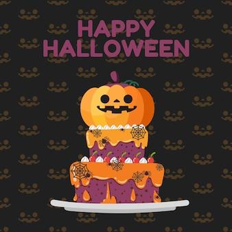 Счастливые тыквы хэллоуина украшают на вершине торта.