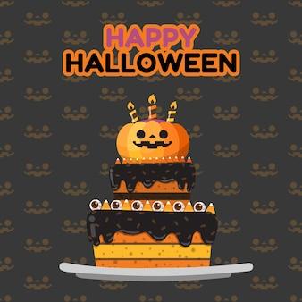 Happy halloween pumpkin decorate on top of cake.