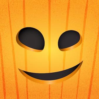Счастливое лицо тыквы хэллоуина на оранжевом фоне. иллюстрация стиля искусства бумаги.