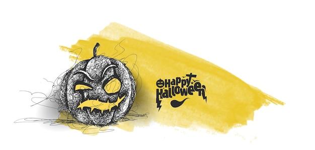Happy halloween pumpkin, hand drawn sketch vector design.