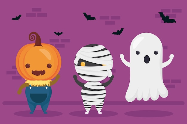 Happy halloween pumpkin and mummy with ghost characters