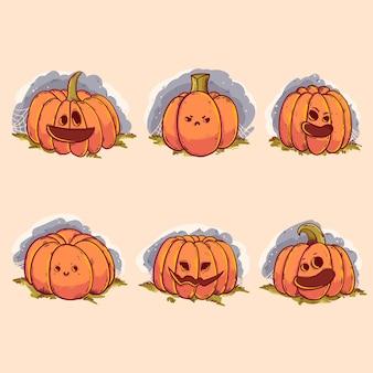 Happy halloween pumpkin set design