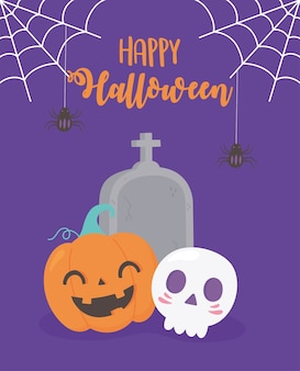 Happy halloween pumpkin skull tombstone cobweb and hanging spider illustration