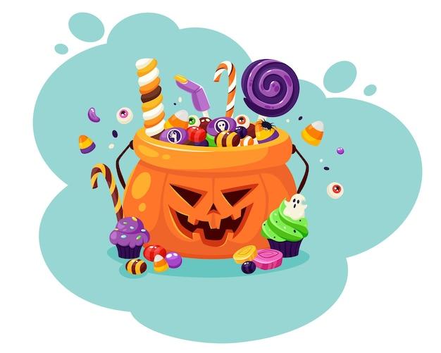 ハッピーハロウィン。気味の悪いお菓子やキャンディーとカボチャ。フラットスタイルのイラスト。