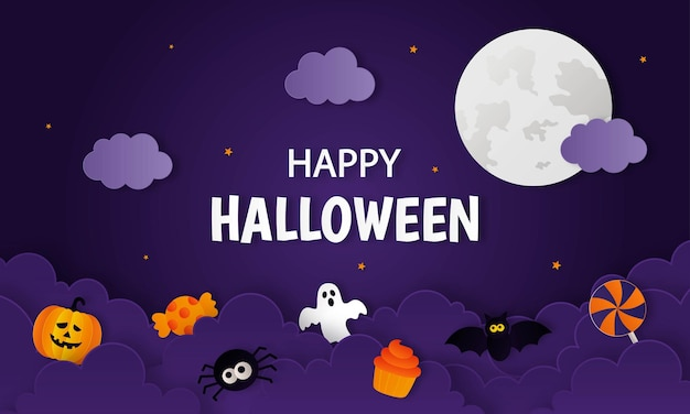 紫色の背景に幽霊とコウモリのペーパーアートスタイルと幸せなハロウィーンのカボチャ