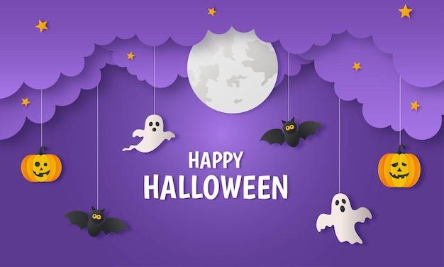 Happy halloween pumpkin with ghosts and bat paper art style on purple background