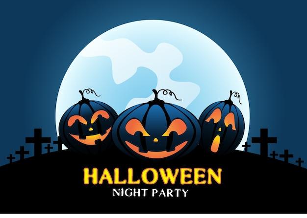 Happy halloween pumpkins on blue moon light night.