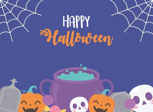 Happy halloween pumpkins cauldron skull tombstone cobweb greeting card illustration