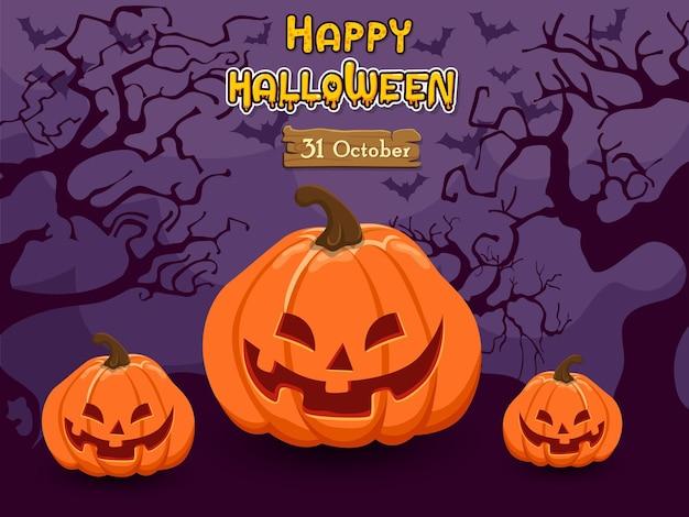 Happy halloween on pumpkins. concept cartoon halloween background at night forest. vector clipart illustration