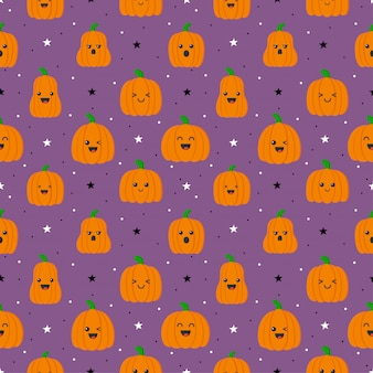 Happy halloween pumpkins with different faces seamless pattern isolated on purple background. Premium Vector